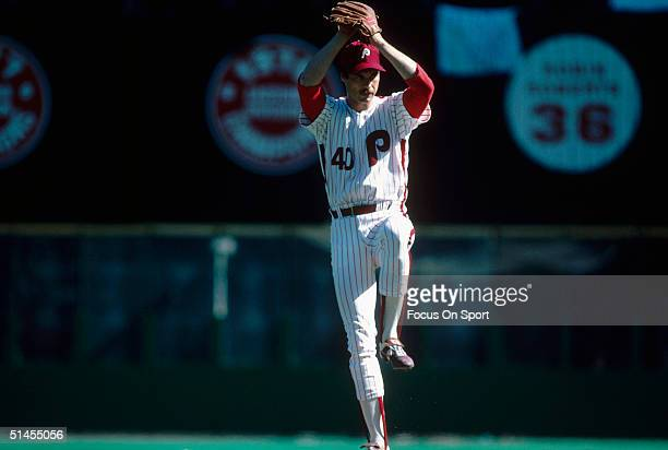 John Denny of the Philadelphia Phillies bats against the Baltimore Orioles during the World Series at Veterans Stadium in Philadelphia Pennsylvania...