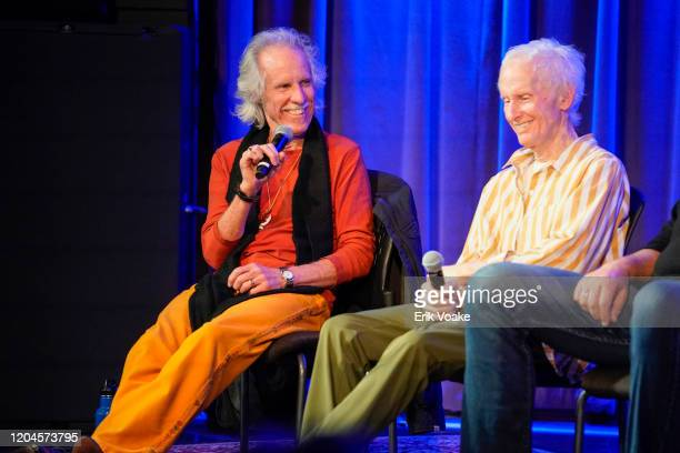 John Densmore and Robby Krieger during a Q and A at The GRAMMY Museum on February 06 2020 in Los Angeles California
