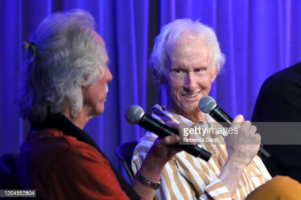 John Densmore and Robby Krieger speak onstage at Reel To Reel The Doors Break On Thru – A Celebration Of Ray Manzarek at the GRAMMY Museum on...