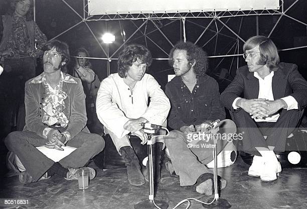 John Densmore Jim Morrison Robby Krieger and Ray Manzarek of The Doors in London for 'Top of the Pops' 1968