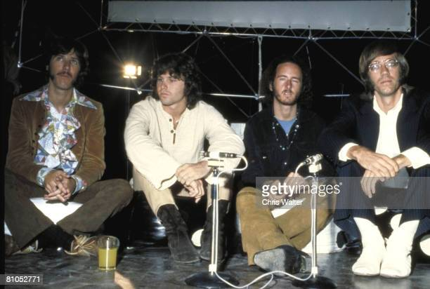 """John Densmore, Jim Morrison, Robby Krieger and Ray Manzarek of The Doors in London for """"Top of the Pops"""", 1968"""