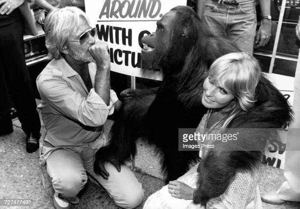 John Derek wife Bo Derek and CJ the orangutan protest the forced editing of their movie Tarzan the Ape Man circa 1981 in New York City