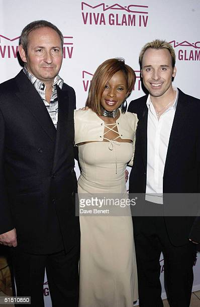John Dess Mary J Blige and David Furnish attend the MAC Cosmetics Charity Party to support Aids in London in honour of Mary J Blige at The Criterion...