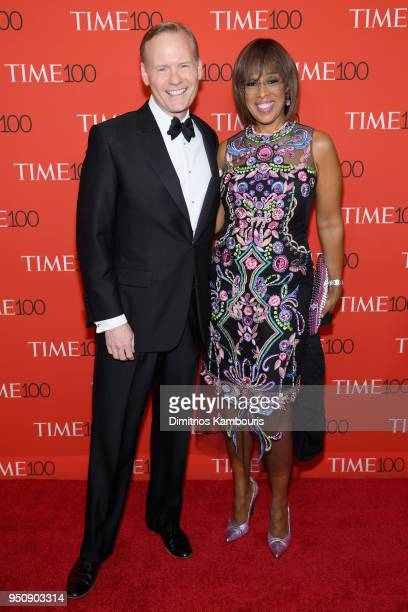 John Dickerson and Gayle King attend the 2018 Time 100 Gala at Jazz at Lincoln Center on April 24 2018 in New York City