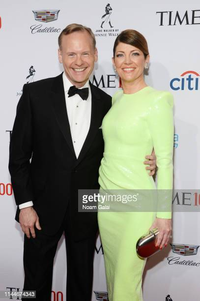 John Dickerson and Norah O'Donnell attend the TIME 100 Gala 2019 Lobby Arrivals at Jazz at Lincoln Center on April 23 2019 in New York City