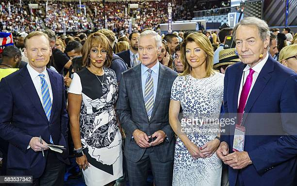 John Dickerson Gayle King Scott Pelley Norah O'Donnell and Charlie Rose report from the floor of the Democratic National Convention on July 25 2016...