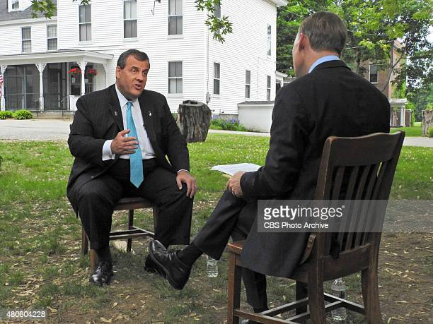John Dickerson interviews Governor Chris Christie in Manchester NH on June 5 2015 The interview will air on the June 7 2015 edition of 'Face the...