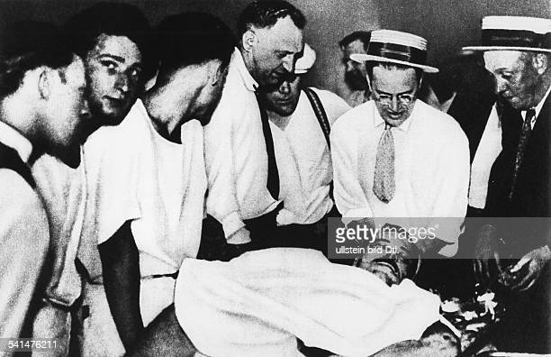 John Dillinger John Dillinger 19031934 Criminal bank robber USA Police agents besides the dead body of Dillinger July 1934