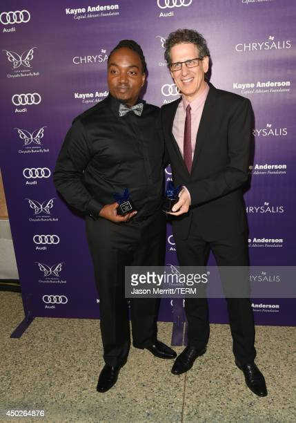 John Dillon Award Recipient Darius Coffey and Honoree Jim Berk inside the 13th Annual Chrysalis Butterfly Ball sponsored by Audi Kayne Anderson and...