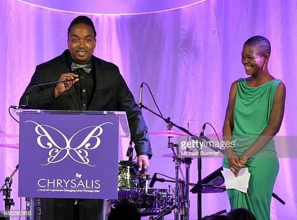 John Dillon Award recipient Darius Coffey and Leela Coffey speak onstage during the 13th Annual Chrysalis Butterfly Ball sponsored by Audi Kayne...
