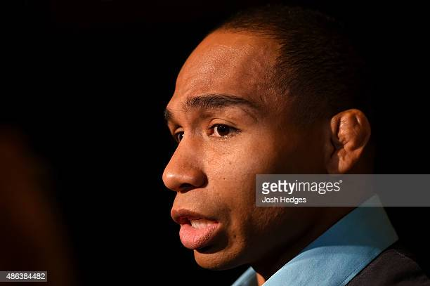 John Dodson interacts with media during the UFC 191 Ultimate Media Day at MGM Grand Hotel Casino on September 3 2015 in Las Vegas Nevada