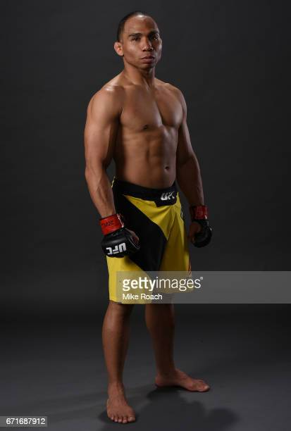 John Dodson poses for a portrait backstage after his victory over Eddie Wineland during the UFC Fight Night event at Bridgestone Arena on April 22...