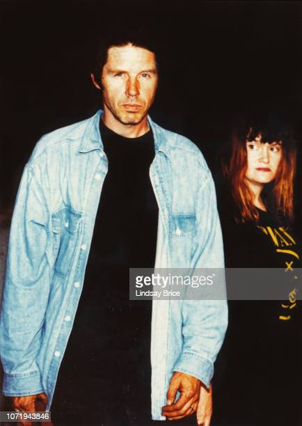 John Doe and Exene Cervenka wearing a Nirvana shirt in honor of Kurt Cobain arrive at the Bonaventure Hotel to perform with X at a Rock the Vote...