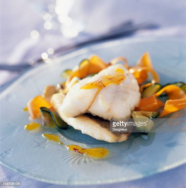 John Dory fillet with vegetable tagliatelles and citrus fruit and saffron coulis