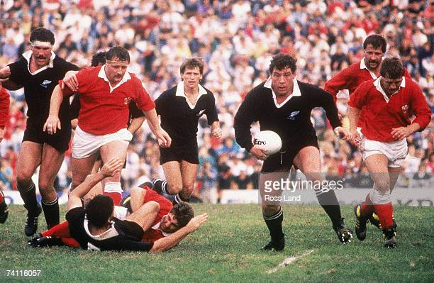 John Drake of New Zealand runs with the ball during the 1987 Rugby World Cup SemiFinal match between New Zealand and Wales at Ballymore Stadium on...