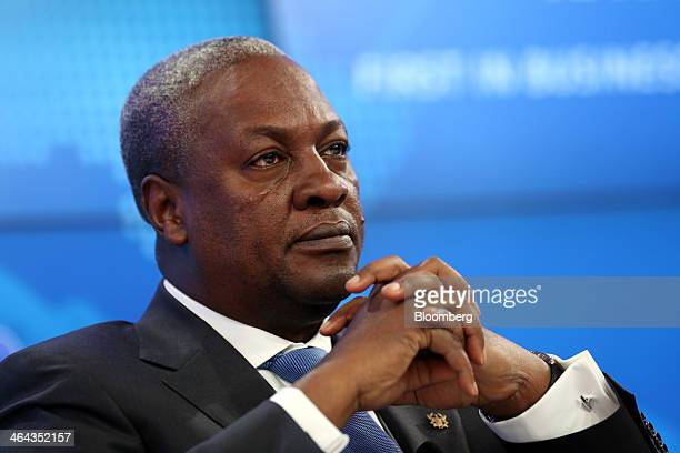 John Dramani Mahama Ghana's president pauses during a session on the opening day of the World Economic Forum in Davos Switzerland on Wednesday Jan 22...