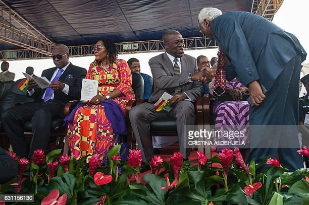 John Dramani Mahama last president of Ghana his wife and his former Vicepresident Kwesi AmissahArthur attend the swearingin ceremony of Nana...