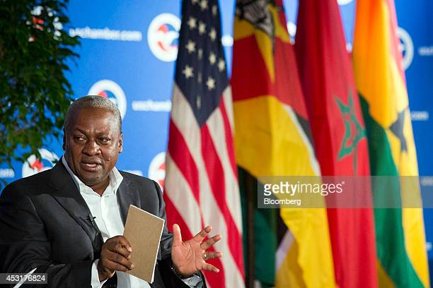 John Dramani Mahama president of Ghana speaks at the US Chamber of Commerce in Washington DC US on Monday Aug 4 2014 The chamber and Investec Asset...