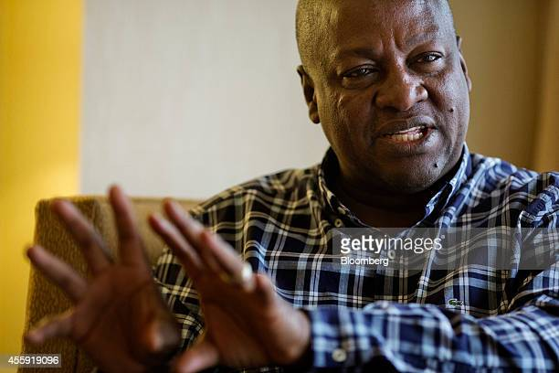 John Dramani Mahama president of Ghana speaks during an interview in New York US on Sunday Sept 21 2014 Mahama said a fiscal injection from the...