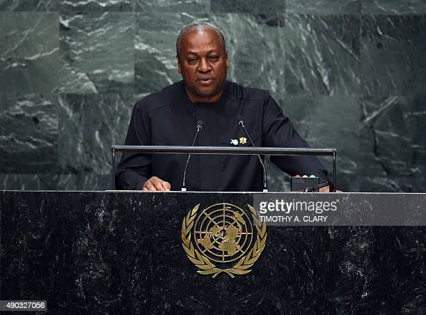 John Dramani Mahama President of the Republic of Ghana speaks to the United Nations Sustainable Development Summit at the United Nations General...
