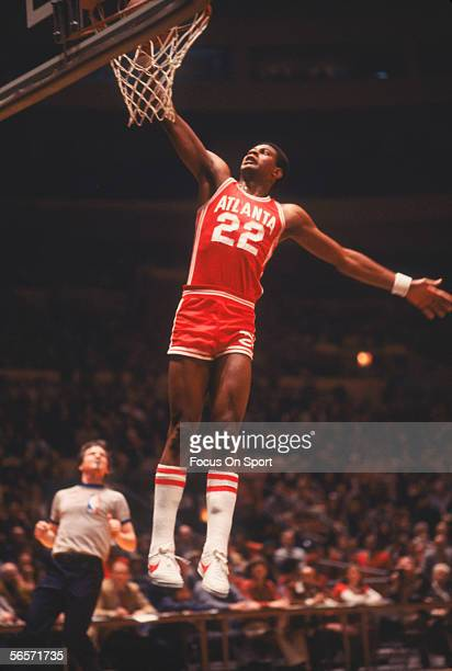 John Drew of the Atlanta Hawks dunks circa the 1970's during a game.