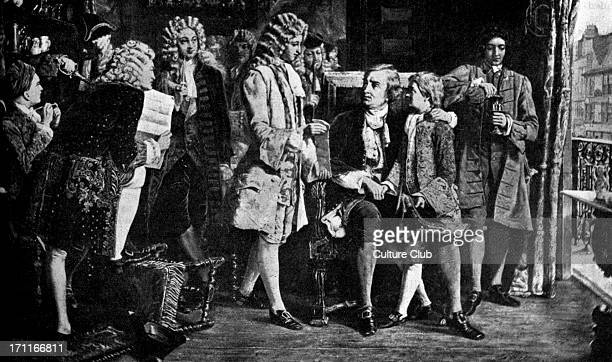 John Dryden the English poet and playwright being introduced to Alexander Pope the English poet JD 19 August 1631 12 May 1700AP 22 May 1688 30 May...