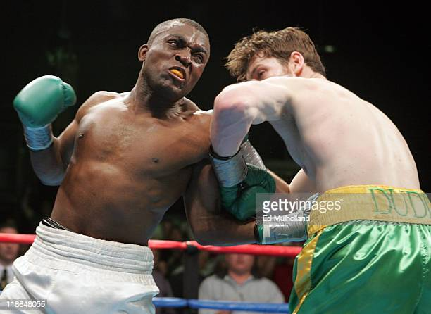 John Duddy and Lenord Pierre trade punches during their 6 round junior middleweight bout on ESPN2's Friday Night Fights at Foxwoods Casino Duddy won...