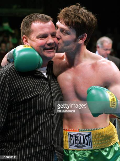 John Duddy celebrates with his father after his 6 round junior middleweight bout against Lenord Pierre on ESPN2's Friday Night Fights at Foxwoods...
