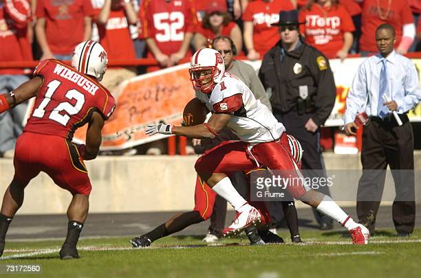John Dunlap of the North Carolina State Wolfpack catches a pass against the Maryland Terrapins October 21 2006 at Byrd Stadium in College Park...