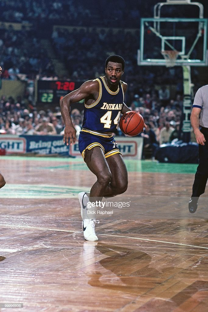 John Duren #44 of the Indiana Pacers moves the ball up court against the Boston Celtics during a game played in 1983 at the Boston Garden in Boston, Massachusetts.