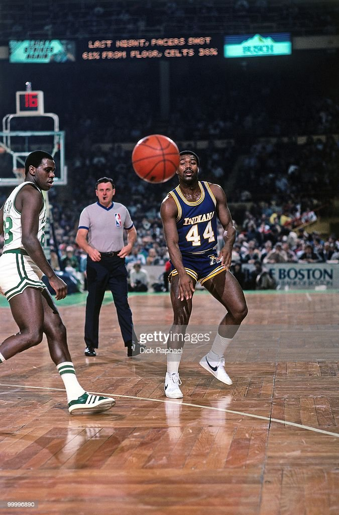 John Duren #44 of the Indiana Pacers passes against the Boston Celtics during a game played in 1983 at the Boston Garden in Boston, Massachusetts.
