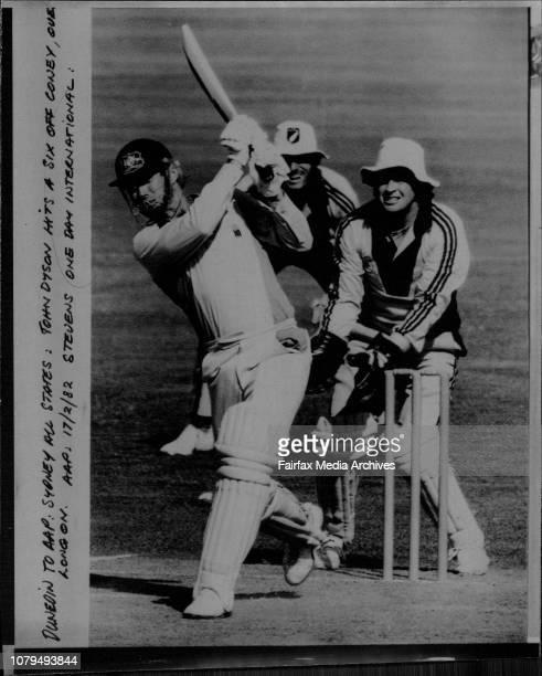 John Dyson hits a six off Coney over Longon February 17 1982