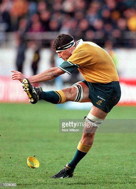 John Eales of Australia takes the kick to score the win in the Tri Nations match won by Australia 24 23 at Westpac Trust StadiumWellington New...