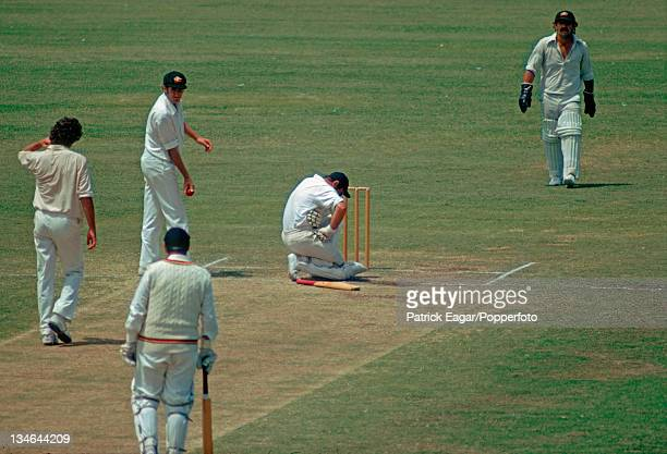 John Edrich after being hit by a ball from Dennis Lillee it cracked a rib Also in the photograph Rick McCosker Colin Cowdrey and Rodney Marsh...