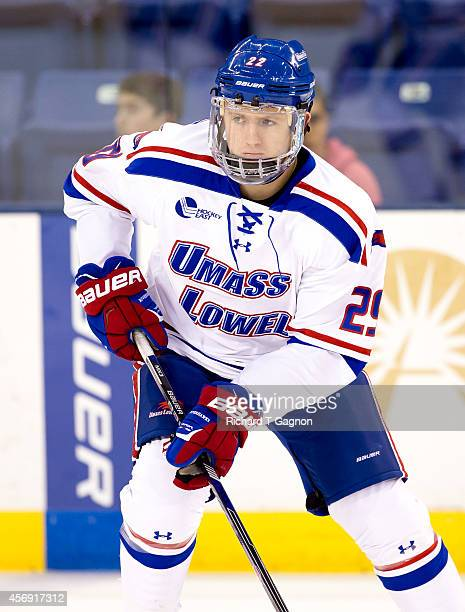 John Edwardh of the Massachusetts Lowell River Hawks skates during NCAA exhibition hockey against the St. Thomas University Tommies at the Tsongas...
