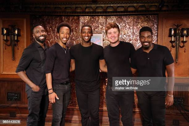 John Edwards Dwayne Cooper Kyle Taylor Parker Max Sangerman and Jelani Remy attend the photo call for the new production of 'Smokey Joe's Cafe' at...