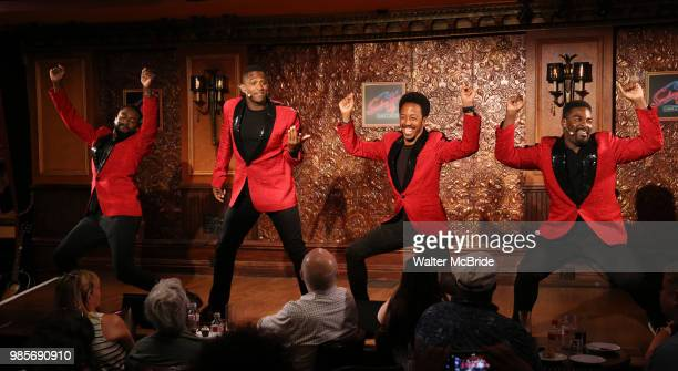 John Edwards Jelani Remy Dwayne Cooper and Kyle Taylor Parker during the Press Preview Presentation for the new production of 'Smokey Joe's Cafe' at...