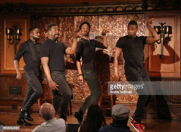 John Edwards Kyle Taylor Parker Dwayne Cooper and Jelani Remy during the Press Preview Presentation for the new production of 'Smokey Joe's Cafe' at...
