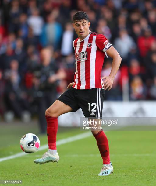 John Egan of Sheffield United during the Premier League match between Sheffield United and Liverpool FC at Bramall Lane on September 28 2019 in...