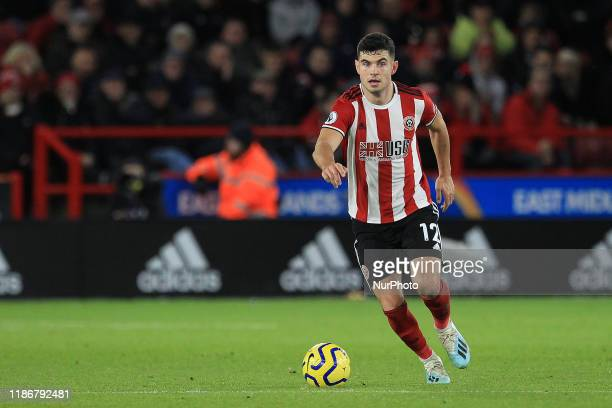 John Egan of Sheffield United during the Premier League match between Sheffield United and Newcastle United at Bramall Lane, Sheffield on Thursday...