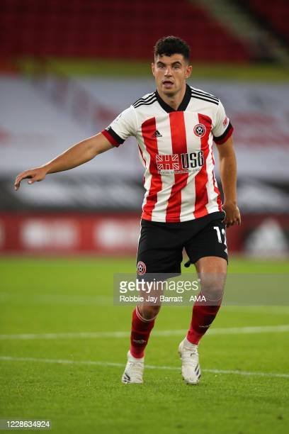 John Egan of Sheffield United during the Premier League match between Sheffield United and Wolverhampton Wanderers at Bramall Lane on September 14,...