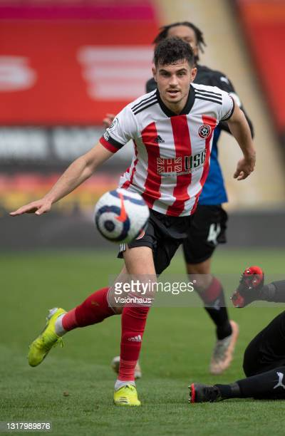 John Egan of Sheffield United in action during the Premier League match between Sheffield United and Crystal Palace at Bramall Lane on May 8, 2021 in...