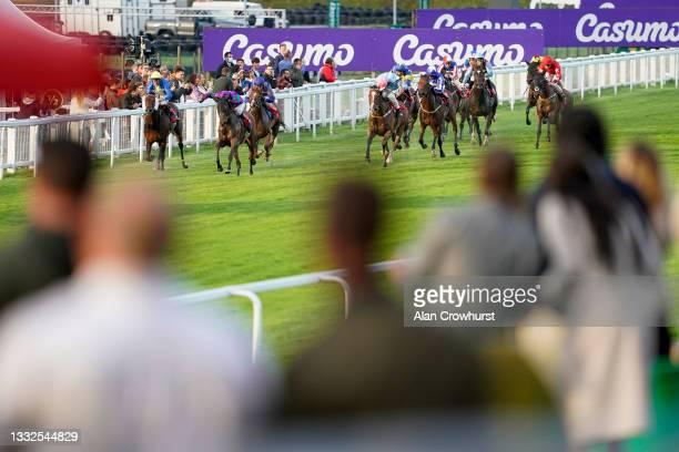 John Egan riding Crema Inglesa win The Casumo Best Odds Guaranteed Handicap at Sandown Park on August 05, 2021 in Esher, England.