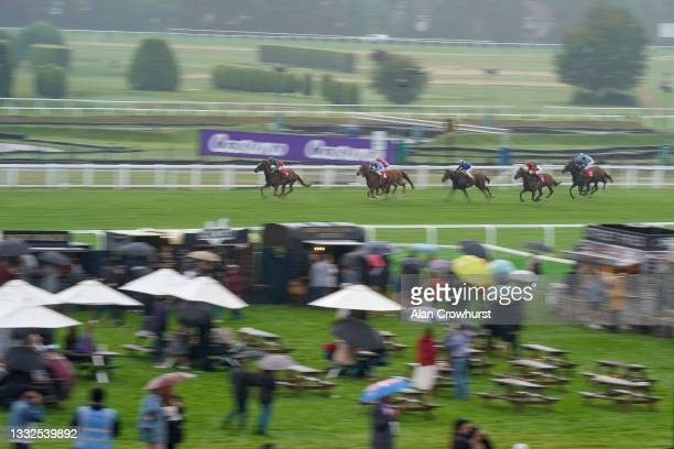 John Egan riding Rewired win The Download The Casumo App Today Handicap at Sandown Park on August 05, 2021 in Esher, England.