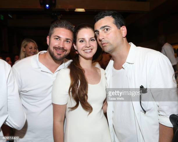 John Ehmann of Interscope Records singersongwriter Lana Del Ray and John Terzian of The hwood Group at the 4th annual 'Red White and Bootsy' July 4th...