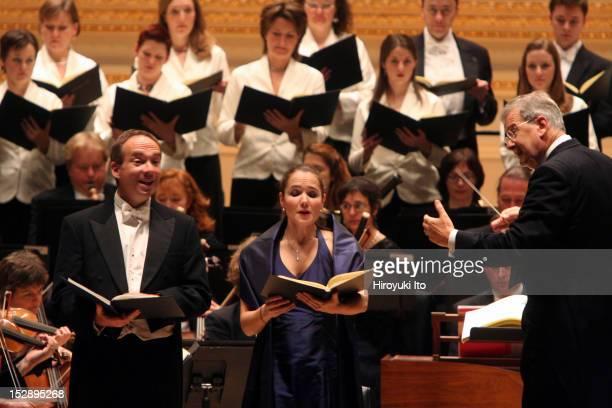 "John Eliot Gardiner leading the Orchestre Revolutionnaire Et Romantique and the Monteverdi Choir in Haydn's ""The Creation"" at Carnegie Hall on..."