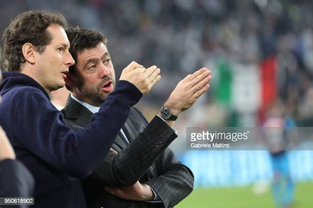 John Elkann and Andrea Agnelli of Juventus during the serie A match between Juventus and SSC Napoli on April 22, 2018 in Turin, Italy. Jhon Elkan;...