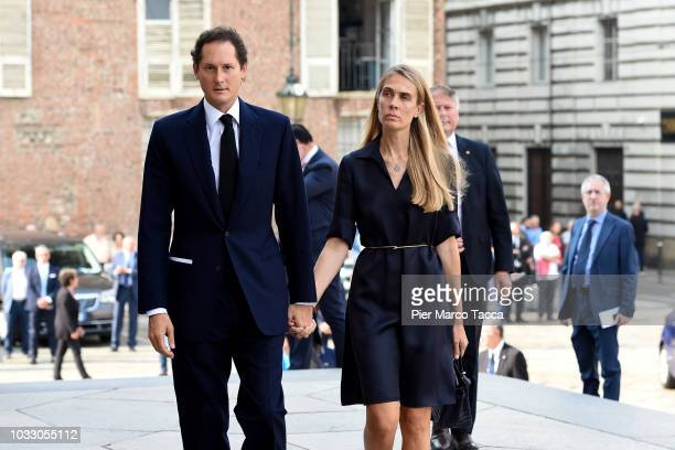 John Elkann and his wife Lavinia Borromeo arrive at the memorial service for Sergio Marchionne at Duomo on September 14 2018 in Turin Italy A...
