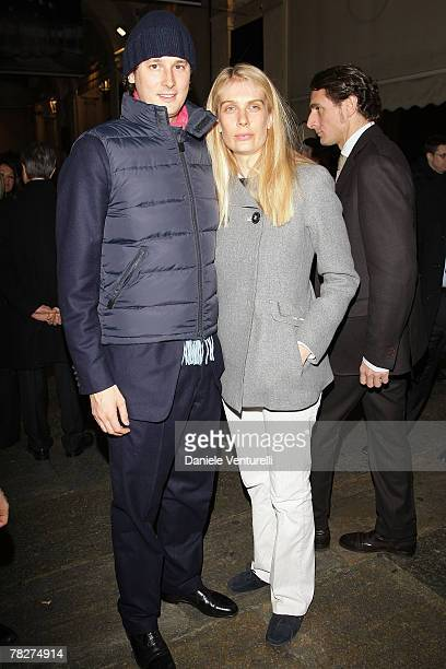 John Elkann and Lavinia Borromeo attends the launch party of 'Italia Independent Ambassador' at the fashion store San Carlo on December 5 2007 in...
