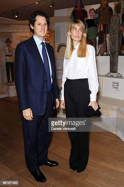 John Elkann and Lavinia Borromeo Elkann attend the press preview of the ''The Museum Of Everything'' at the Pinacoteca Giovanni e Marella Agnelli on...